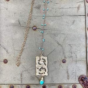 Gold plated bird & faux turquoise long necklace